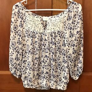 Abercrombie & Fitch Sheer Floral Blouse Size S